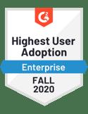 Customer Self-Service - Highest User Adoption - Enterprise - Fall 2020